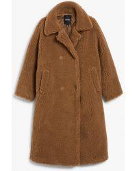 Monki Long Teddy Coat - Natural