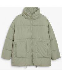 Monki High Neck Puffer Coat - Green