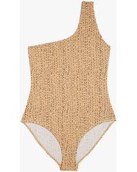 Monki One-shoulder Swimsuit - Natural