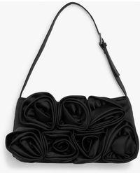 Monki Satin Rose Hand Bag - Black