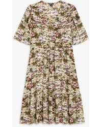 Monki Ruffle Hem Midi Dress - Multicolour