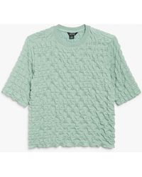 Monki Crepe Textured T-shirt - Green