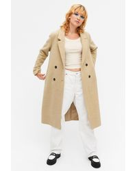 Monki Classic Double-breasted Coat - Natural