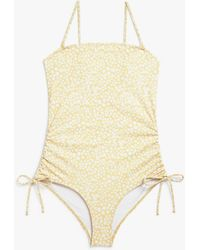 Monki Ruched Swimsuit - Yellow
