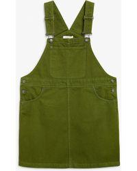 Monki Denim Dungaree Dress - Green