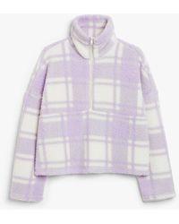 Monki Faux Fleece Zip Jumper - Purple