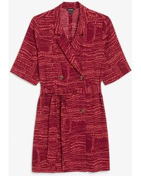 Monki Double Breasted Tie-waist Dress - Red