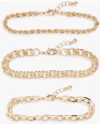 Monki 3-pack Gold Metal Bracelets - Metallic