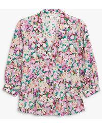 Monki Puff Sleeve Blouse - Multicolour