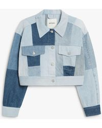 Monki Patchwork Denim Jacket - Blue
