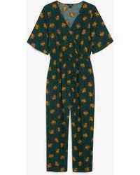 Monki Short-sleeved Wrap Jumpsuit - Green