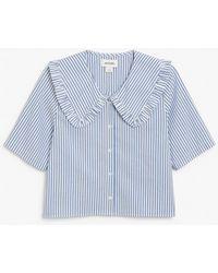 Monki Ruffle Collar Blouse - Blue