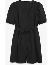 Monki Puff Sleeve Cotton Playsuit - Black