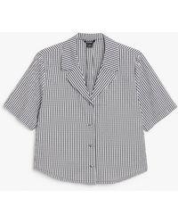 Monki Cropped Shirt Blouse - Black