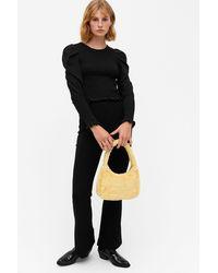 Monki Shirred Long Sleeve Top - Black