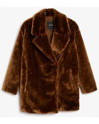 Monki Short Faux Fur Jacket - Natural