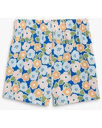 Monki High Waist Shorts - Blue