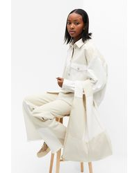 Monki Upcycled Denim Tote Bag - White