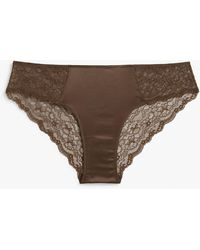 Monki Satin And Lace Briefs - Brown