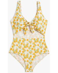 Monki Tie Cut-out Swimsuit - Yellow