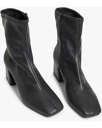 Monki Square-toe Ankle Boots - Black
