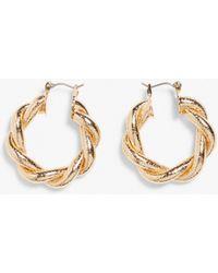 Monki Twisted Gold Hoop Earrings - Metallic