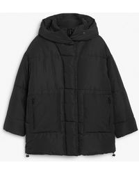 Monki Oversized Puffer Jacket With Hood - Black