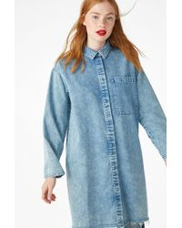 Monki - Frayed Hem Denim Shirt - Lyst