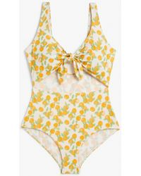 Monki Tie Cut-out Swimsuit With Orangeprint - Yellow