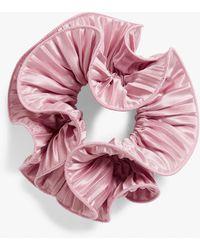 Monki Pleated Satin Scrunchie - Pink