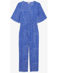 Monki Short-sleeved Wrap Jumpsuit - Blue