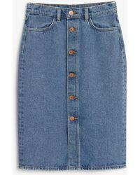Monki Long Denim Skirt - Blue
