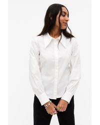 Monki Statement Collar Shirt Blouse - White