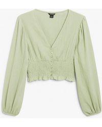 Monki Shirred Waist Blouse - Green