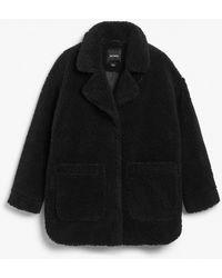 Monki Oversized Faux Shearling Coat - Black