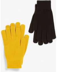 Monki Two-pack Of Knitted Gloves - Yellow
