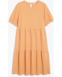 Monki Seersucker Midi Dress - Orange