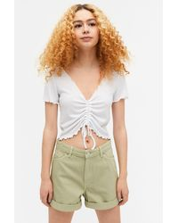 Monki High Waist Denim Shorts - Green