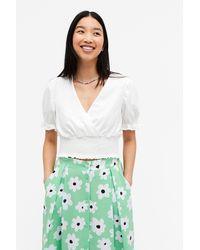 Monki Shirred Waist Crop Top - White