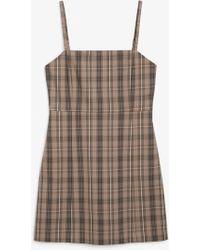 Monki Check Mini Dress With Spaghetti Strap - Brown