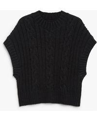 Monki Soft Cable Knit Vest - Black