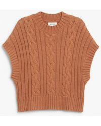 Monki Soft Cable Knit Vest - Brown