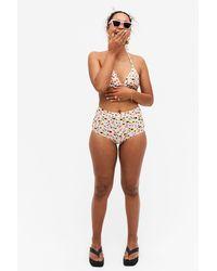 Monki High-waisted Bikini Briefs - Pink