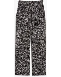 Monki Wide Leg Flowy Trousers - Black