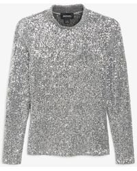 Monki Long-sleeve Sequin Top - Metallic