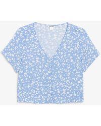 Monki Cropped Button-up Blouse - Blue