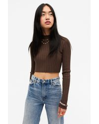 Monki Wide Ribbed Knit Top - Brown