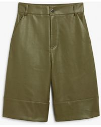 Monki Faux Leather Bermuda Shorts - Green