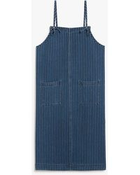 Monki Smock Cotton Dress - Blue
