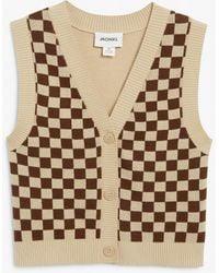 Monki Fine Knit Vest - Natural